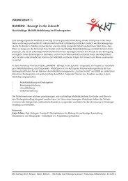 WORKSHOP 1: BAMBINI - Bewegt in die Zukunft - KKT