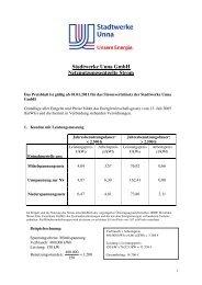 Netznutzungsentgelte Strom ab Januar 2011 - Stadtwerke Unna
