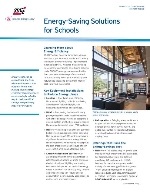 Energy-Saving Solutions for Schools - San Diego Gas & Electric
