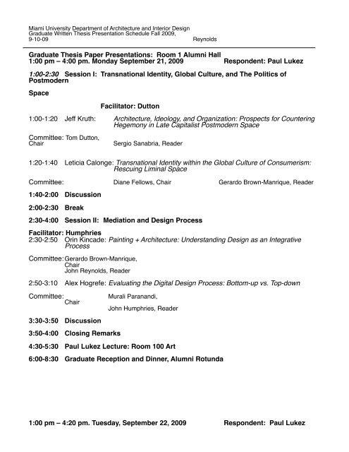 Thesis Paper Presentations 2009 - Miami University School of Fine ...