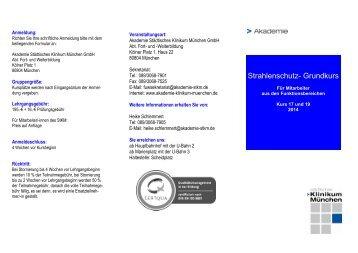 FB Strahlenschutz Grundkurs - Akademie Klinikum München