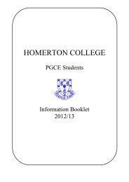 Information Booklet - Homerton College - University of Cambridge