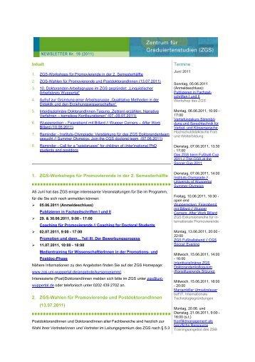 ZGS Newsletter Nr. 19 (2011) - ZGS - Bergische Universität Wuppertal