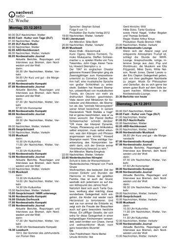 52. Woche - Radio Bremen