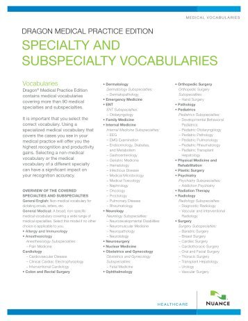 SPECIALTY AND SUBSPECIALTY VOCABULARIES - Nuance