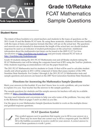 Fcat 6th Grade math Sample Test