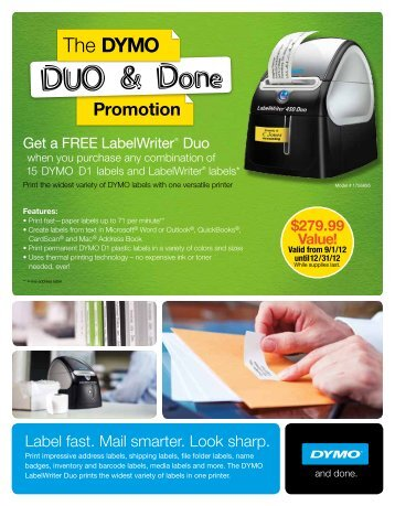 Open the PDF-file to redeem your FREE DYMO LabelWriter Duo