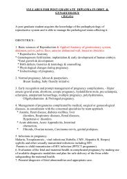 SYLLABUS FOR POST GRADUATE DIPLOMA IN OBST