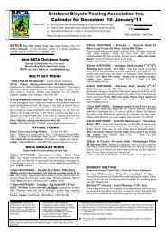 Brisbane Bicycle Touring Association Inc. Calendar for December ...