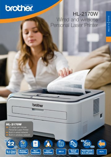 HL-2170W Wired and wireless Personal Laser Printer