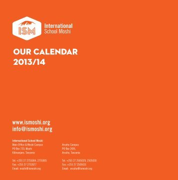 School Calendar 2013-14 - International School Moshi