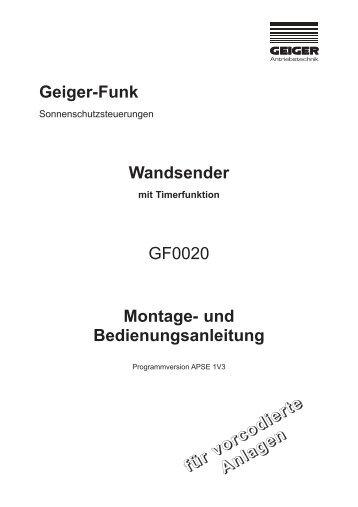 Geiger-Funk Wandsender GF0020 Montage - Geiger Antriebstechnik