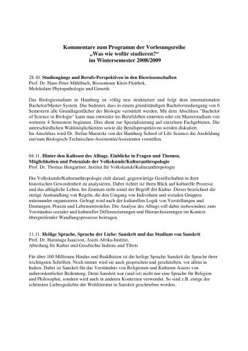 Wintersemester 2008/2009 - Universität Hamburg