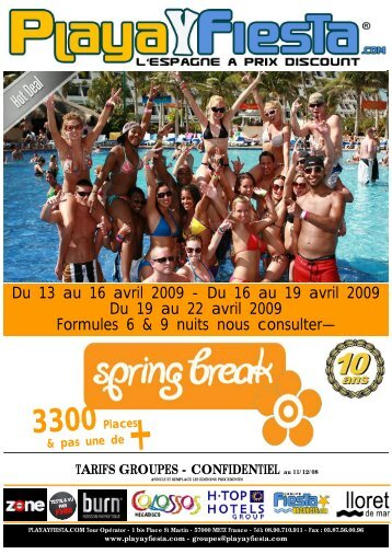 BROCHURE SPRINGBREAK 2009 GRP BIS - Playa Y Fiesta