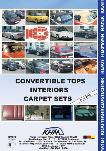 Convertible tops interiors carpet sets - Klaus Hermann Mayer-KFZ ...