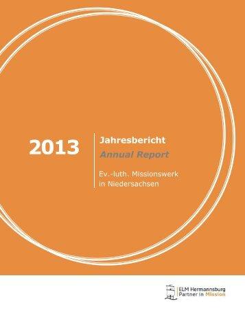 Jahresbericht 2013.pub - Ev.-luth. Missionswerk in Niedersachsen
