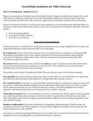 Tiffin University Social Media Policy