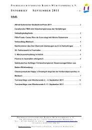 infobrief september 2011 - Pferdezuchtverband Baden-Württemberg