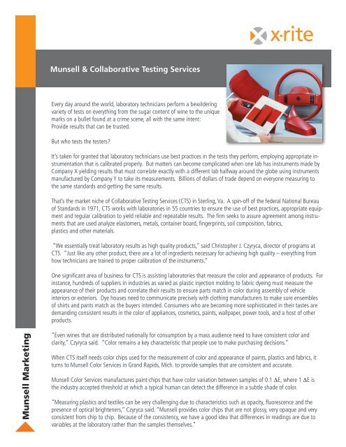 Munsell & Collaborative Testing Services - X-Rite