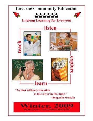 teach explore learn listen Winter, 2009 - Luverne Public Schools