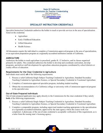 cl-574 - commission on teacher credentialing - state of california