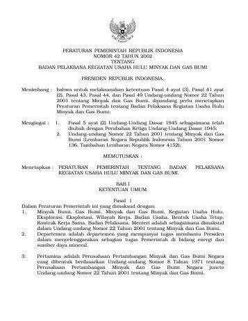 peraturan pemerintah republik indonesia nomor 42 tahun 2002 ...