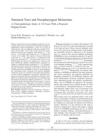 Sinonasal Tract and Nasopharyngeal Melanomas - Pamandlester.com