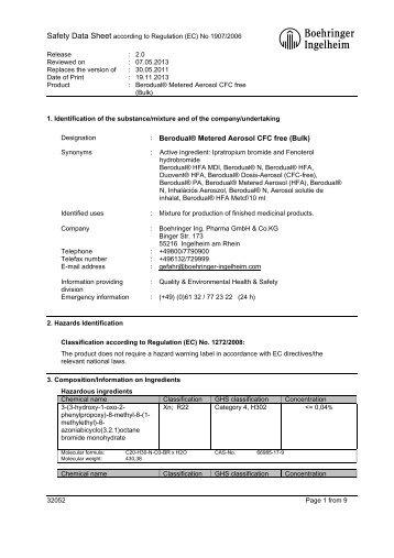 Berodual® Metered Aerosol CFC free - Material Safety Datasheets ...