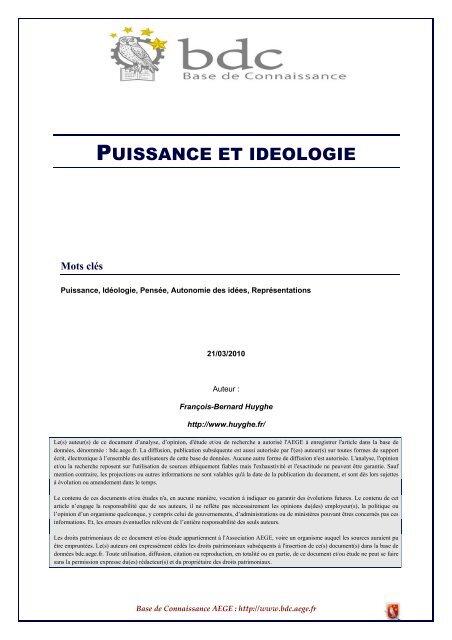 Puissance et idéologie - Base de connaissance AEGE