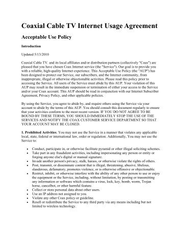Coaxial Cable TV Internet Usage Agreement Acceptable Use Policy
