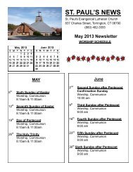 May 2013 Newsletter - St. Paul's Lutheran Church
