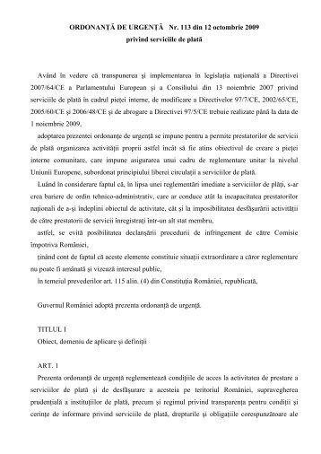 ORDONANŢĂ DE URGENŢĂ Nr. 113 din 12 octombrie 2009 privind ...