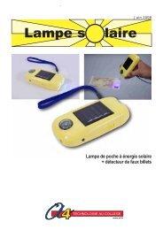Lampe de poche à énergie solaire + détecteur de ... - A4 Technologie