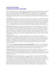 University of San Diego Academic Grant Awards –Spring 2012