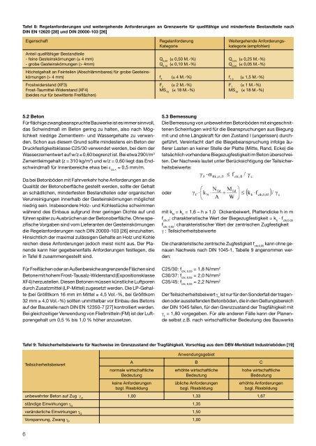 Tafel 8 Regelanforderung