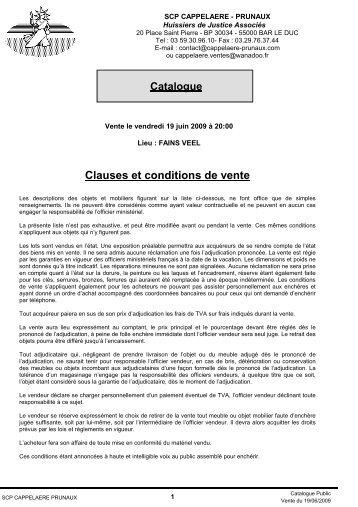 Clauses et conditions de vente - Cappelaere-Prunaux.com