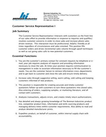 customer service representative job summary