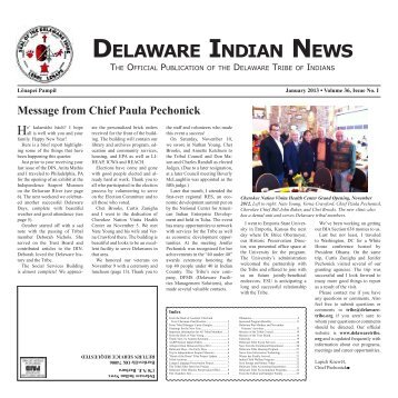 January 2013 - Delaware Tribe of Indians