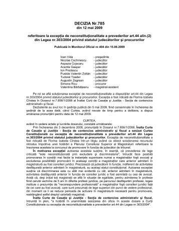 42. Decizia nr. 785 din data de 12.05.2009 - Curtea Constituţională ...