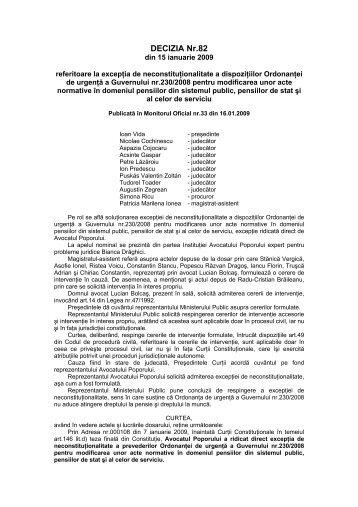 126. Decizia nr. 82 din data de 15.01.2009 - Curtea Constituţională ...