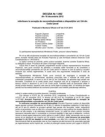 10. Decizia nr. 1092 din data de 18.12.2012 - Curtea Constituţională ...