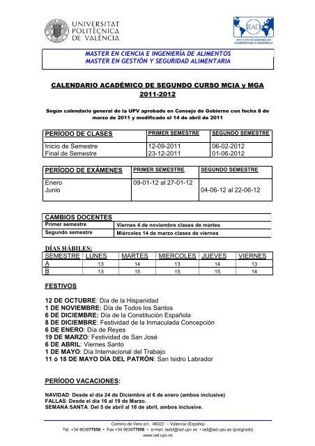 Calendario 2011 Espana.Calendario Academico 2011 2012 Segundo Curso