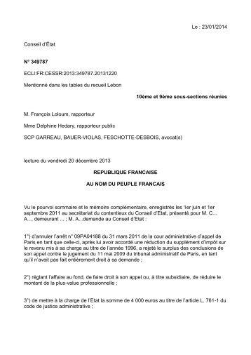 CE, 20 décembre 2012, n°349787