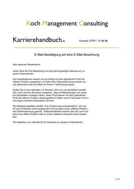 E Mail Bestãtigung Auf Eine E Mail Bewerbung Koch Management