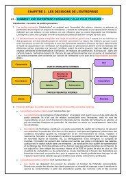 CHAPITRE 2 - 21 - Organisation de l'entreprise et parties prenantes