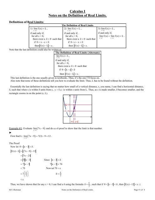 Calculus I Notes on the Definition of Real Limits