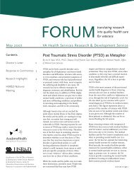 Forum: Translating Research into Quality Health Care for Veterans ...