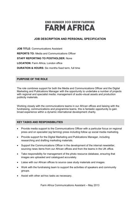 Job Description And Personal Specification Farm Africa