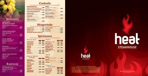 Speisekarte - heat Steakhouse