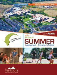 Summer Schedule 2013 - Red Rocks Community College